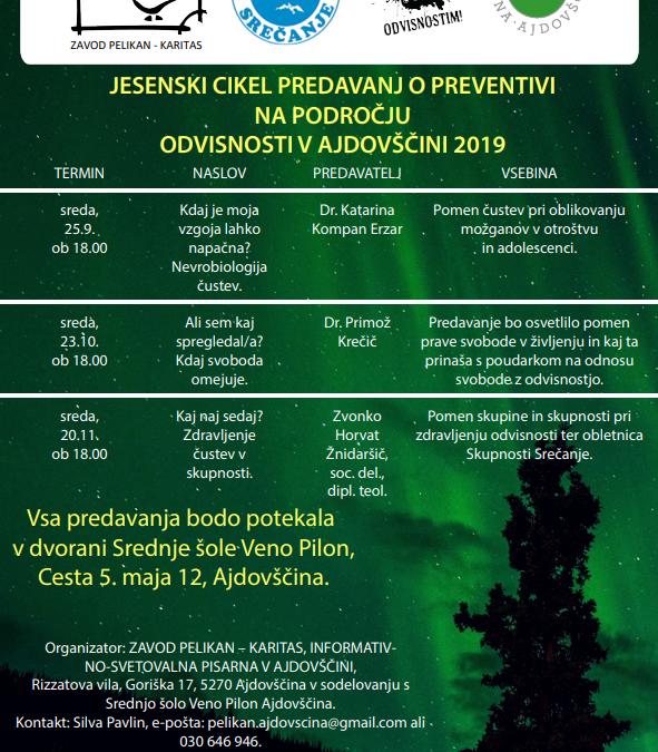 Predavanja o preventivi na področju odvisnosti v Ajdovščini
